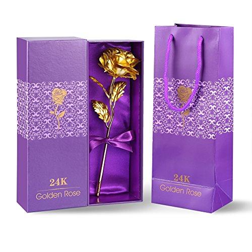 24K Feuille d'Or Rose Fleurs 24cm Long Pied Fabriqué à la main et Last Forever cadeau