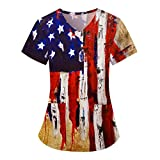Fankle Independence Day Star and Stripe Scrub_Tops for Women Short Sleeve Vneck American Flag Printed Holiday Tops(Blue,Medium)