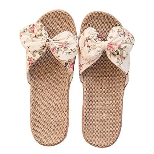 Writtian Sandalias Mujer Verano 2021 Planas Zapatillas para Mujer Zapatillas de Estar por Casa de Lino Interior Sandalias de Playa Verano Bohemia Bowknot Lino Chanclas Verano Zapatos Playa