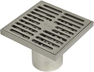 Brass Floor Drain Contemporary 4 inches Square, with Removable Strainer,Brushed Nickel,PHASAT,80601N