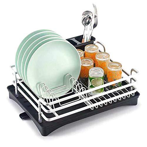 KELUNIS Dish Rack with Swivel Spout, Large Dish Rack Drainer for Kitchen Organizer Storage Space Saver Utensils Holder,Silver
