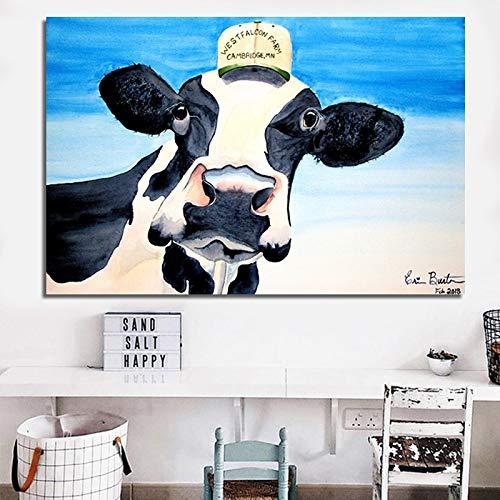 Rahmenlose Malerei Kunst niedlich Tier Kuh und Pferd drucken Plakat Moderne abstrakte Malerei für Wohnzimmer DekorationZGQ10297 20x30cm verwendet