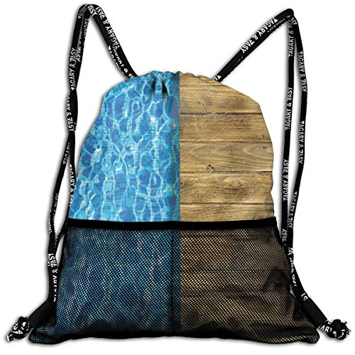 AZXGGV Drawstring Backpack Rucksack Shoulder Bags Gym Bag Sport Bag,Summer House Seem Swimming Pool with Wooden Seem Deck Image