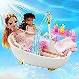Puppenhaus Badezimmer, Puppenset Mit Automatischem Wasserbad, Kleidung, Badetücher, WC, Duschgel,...