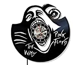 Levescale - Pink Floyd Vinyl Wall Clock Rock Band - Perfect Music Gifts for Man, Boy Or Dad - Decoration for Living Room, Bedroom - Classic Dark Side Animals Sound Rock