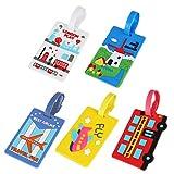 LIOOBO 5Pcs Reisegepäckanhänger Illustrationsmusterreise-Identifikations-Taschenanhänger für Gepäckkofferrucksäcke