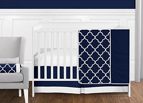 Navy Blue and White Modern Trellis Lattice Baby Boy Crib Bedding Set by Sweet Jojo Designs - 11 Pieces