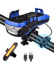 AMANKA 550LM LED Fiets Lamp Oplaadbare,Ingebouwde Batterij van 2400 mAh Kan de Mobiele Telefoon Opladen,Met Houder Voor Mobiele Telefoon en 130DB-Luidspreker Geschikt Voor Nachtfietsen en Buitenreizen