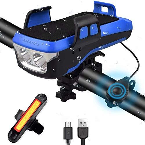 AMANKA - Luce LED Bicicletta Anteriore e Posteriore Ricaricabile USB 550LM