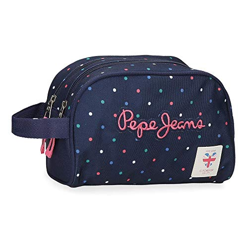 Neceser Pepe Jeans Molly Doble Compartimento Adaptable, Azul, 26 x 16 x 12 cm