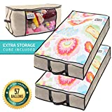 SmartCube Underbed Storage Bag – 2 Large Under-the-Bed Storage Containers plus Organizer Bin with Reinforced Handles and Metal Zippers – Foldable Under-Bed Storage Bags and Containers by Nest Neatly