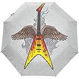 WILHJGH Angel Wing Guitar Paraguas Plegable automático Protección UV Auto Abrir Cerrar Paraguas Plegables de Bloqueo Solar