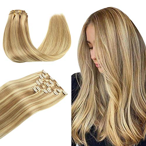 Wennalife Clip in Human Hair Extensions, 20 Inch 120g 7pcs Light Blonde Highlighted Golden Blonde Hair Extensions Clip In Human Hair Remy Clip in Hair Extensions Real Human Hair Double Weft