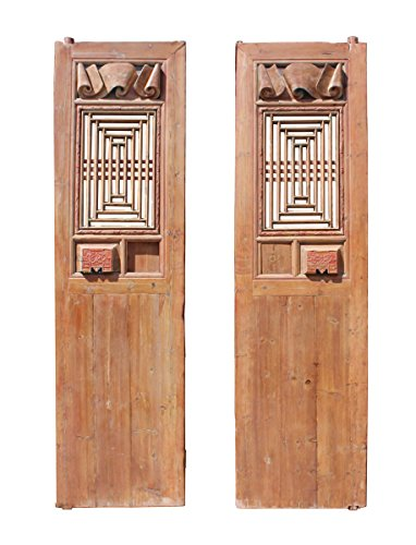 Buy Discount Chinese Vintage Dimensional Scroll Carving Tall Wood Door Panels Acs2781