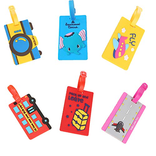6 Pack Cute Anime Cartoon PVC Luggage Tag Suitcase Check Card Silicone Card Holder