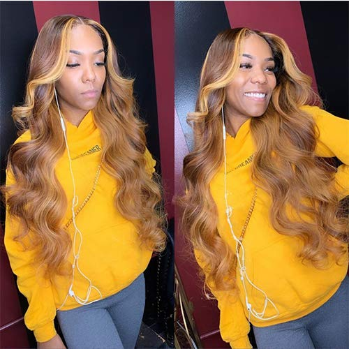 Highlight Color 13x4 Wavy Lace Front Wigs Human Hair 150% Density Brazilian Remy Hair Wigs Bleached Knots Natural Hairline With Baby Hair Pre Plucked (20Inches)