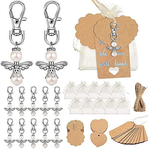 SPECOOL Etichette per regali fai da te, in carta kraft, con 40 ciondoli a perla, 20 m, filo di iuta marrone, 40 etichette per nome, 2 penne fai da te per matrimoni, battesimi, etichette per prezzi