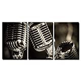 wall26 - 3 Piece Canvas Wall Art - Closeup of Chromed Retro Recording Studio Microphones - Modern Home Art Stretched and Framed Ready to Hang - 24'x36'x3 Panels