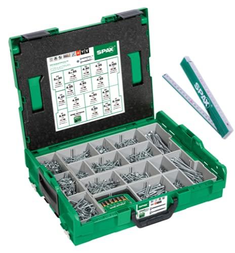 SPAX Montagekoffer, L-BOXX, groß, WIROX A3J, T-STAR plus, Senkkopf, 16 Abmessungen, 2446 Stück, inkl. SPAX BitBox und SPAX Zollstock, 5000009161019