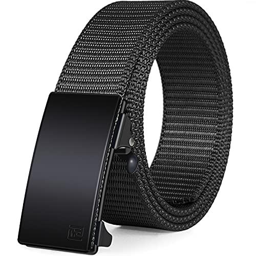 FAIRWIN Men's Ratchet Web Belt,1.25 inch Nylon Automatic Buckle Belt ,No Holes Invisible Belt for Men