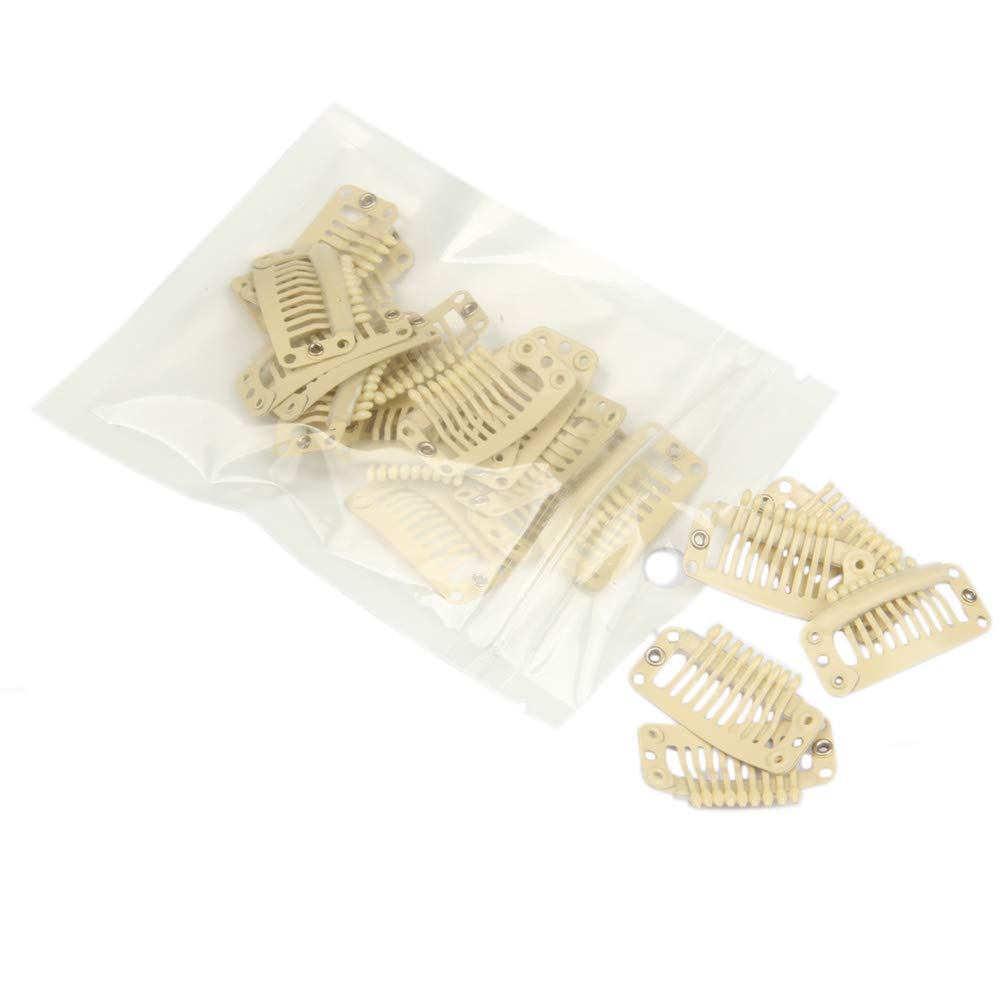20pcs Charlotte Mall 9-Teeth Direct sale of manufacturer Stainless Snap Comb Wig Extension Clips Clip Hair