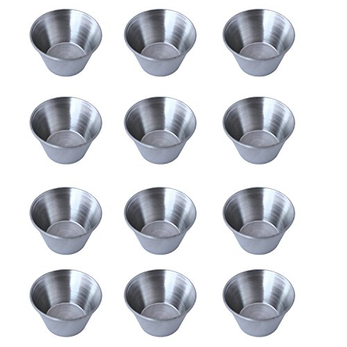 Stainless Steel Portion Cups Sauce Cups, 2.5 oz, Silver