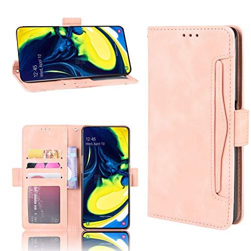 Snow Color Galaxy A80 Hülle, Premium Leder Tasche Flip Wallet Case [Standfunktion] [Kartenfächern] PU-Leder Schutzhülle Brieftasche Handyhülle für Samsung Galaxy A80 - COBYU020212 Rosa
