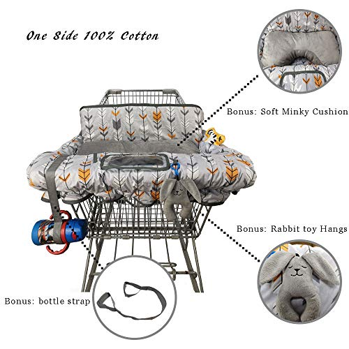 Shopping Cart Cover for Baby Cotton, Minky Bolster Positioner, 6.5