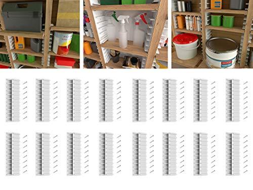 EZStudRack Shelving System for Garages, Sheds, Pantries, Closets, and More. Includes 32 EZStudRacks & 128 Screws.