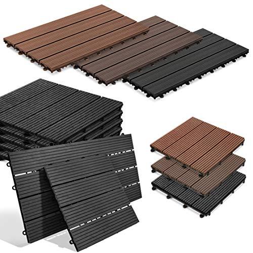 Klickfliesen Royal | In Fliesen- oder Dielenform | Terrassenfliesen Balkonfliesen | Attraktive Holzoptik in 3 Farben | Drainagefunktion (30 x 30 cm, Anthrazit)