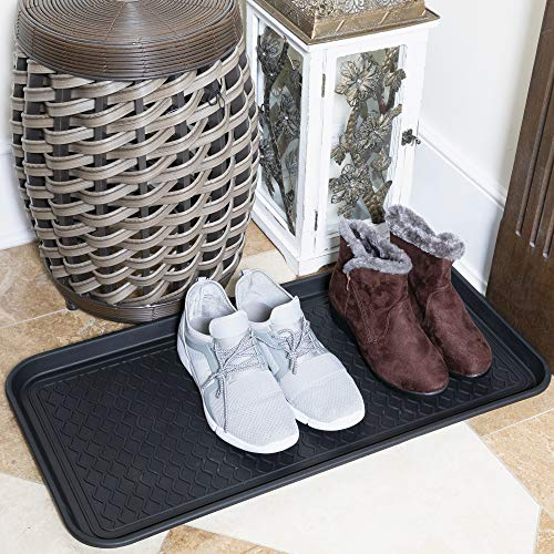 """Sweet Home Stores Boot Tray Indoor/Outdoor, 30"""" X 15"""", Black, Black Square"""
