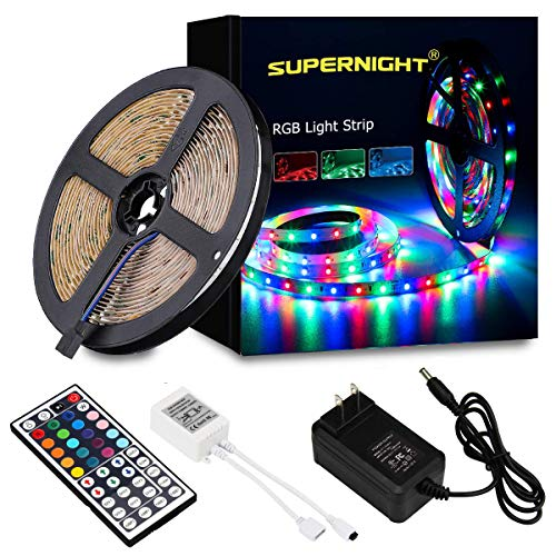 SUPERNIGHT 5Meter/16.4 Foot SMD 3528 RGB 300 LED Color Changing Kit with Flexible Strip Light 44 Key IR Remote Control Power Supply