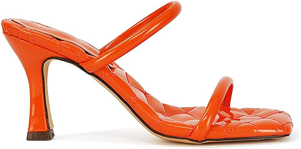 Kino London Womens Mid High Heel Sandals Ladies Quilted Patent Slip On Square Toe Shoes