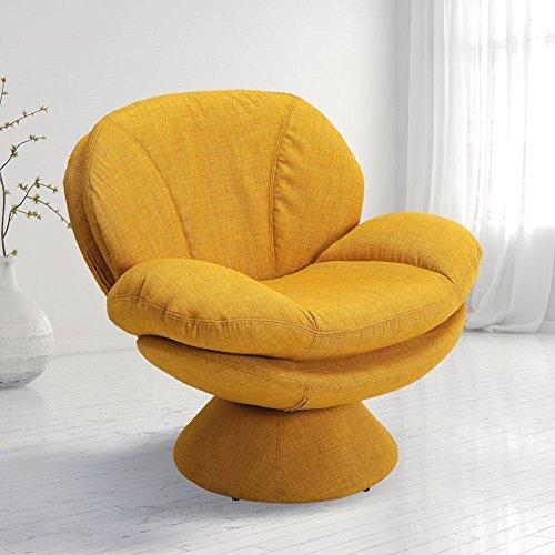 Mac Motion Comfort Leisure Accent Straw Fabric Swivel Pub Chair, Yellow