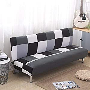 Leo565Tom Norte de Europa Funda de sofá Cubierta de la Cama Cubiertas de sofá elástico Tela Funda Elástica Sofá Slipcover Protector (160-190 cm, Rejilla Blanco y Negro)