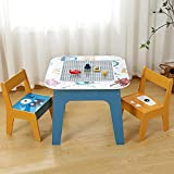 Kindersitzgruppe Holz mit Stauraum, Bausteine Spieltisch, 1 Kindertisch und 2 Stühle, 60×50×50cm, Kindermöbel Tisch und Stühle Set für Kleinkinder Mädchen Jungen und Vorschüler, Blau