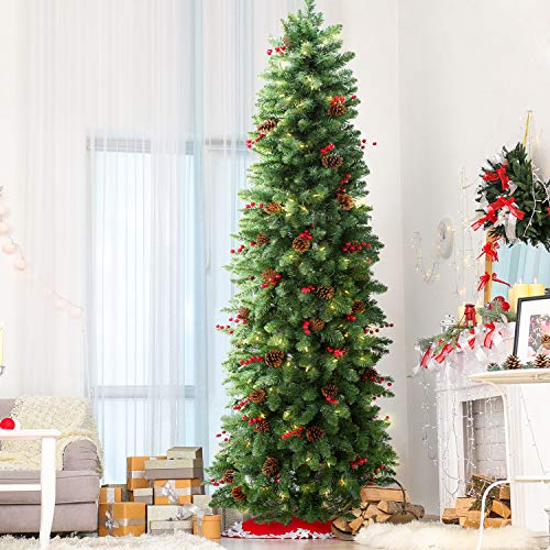 LIFEFAIR 9FT Pre-lit Slim Artificial Christmas Pine Tree with 500 Clear Lights and Metal Foldable Stand for Holiday Decor, Hinged UL Certified (1450 Thicken Tips)