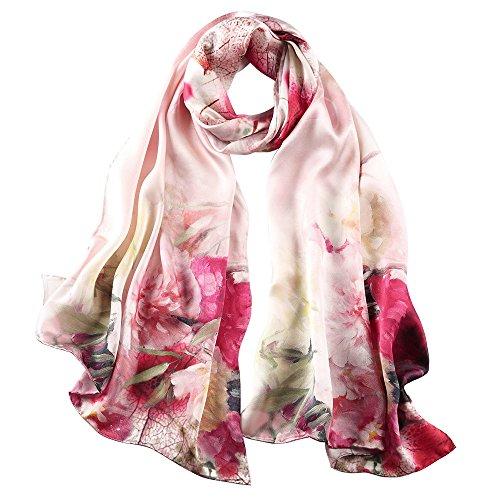 STORY OF SHANGHAI Seidenschal Damen 100% Seide, 20+ Bunte Luxuriöse Schals, Warm & Weich, als Stola Seidentuch Halstuch Pashmina - 53 * 170 cm Elegant Rot Blumen