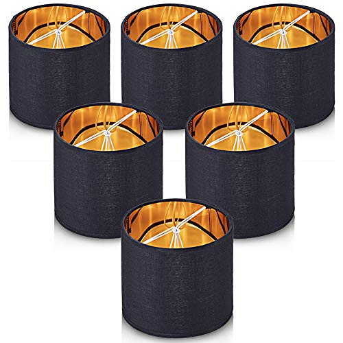 Wellmet Lampshades,Small Chandelier Shades ONLY for Candle Bulbs,Clip-on Drum Lampshades,Set of 6, 5.5