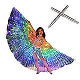 ASSR Alas luminosas de mariposa LED para danza del vientre, alas coloridas fluorescentes con palo telescópico para niñas, espectáculo de escenario de Halloween, fiesta de Navidad