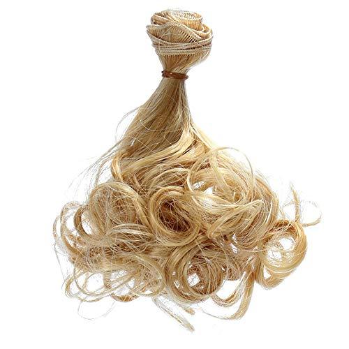 15x100cm BJD/SD Doll parrucca fai da te belli dei capelli riccioli lunghi, Capelli parrucche DIY-alta temperatura del filo a mano ricci bambola parrucche Parrucca - Giallo