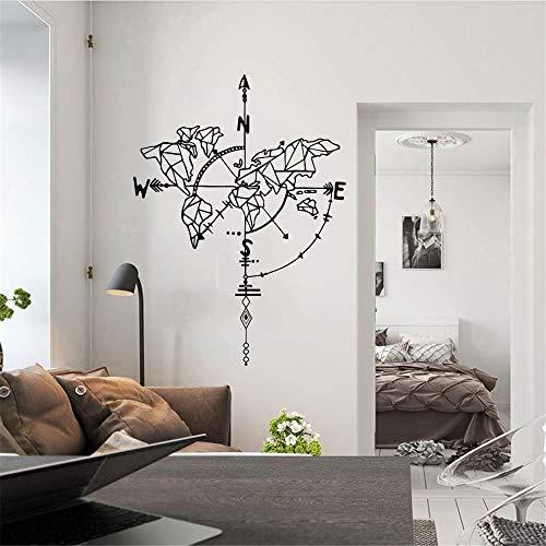 Resumen nórdico triángulo coordenado brújula dirección mapa del mundo calcomanía vinilo pared pegatina dormitorio sala de estar Oficina decoración del hogar Mural cartel