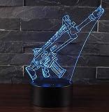 3D Lmpara de Escritorio Win-Y LED 7 del tacto del color de la lmpara del dormitorio del hogar decoracin de la oficina para los nios y regalo de cumpleaos (Pump action)