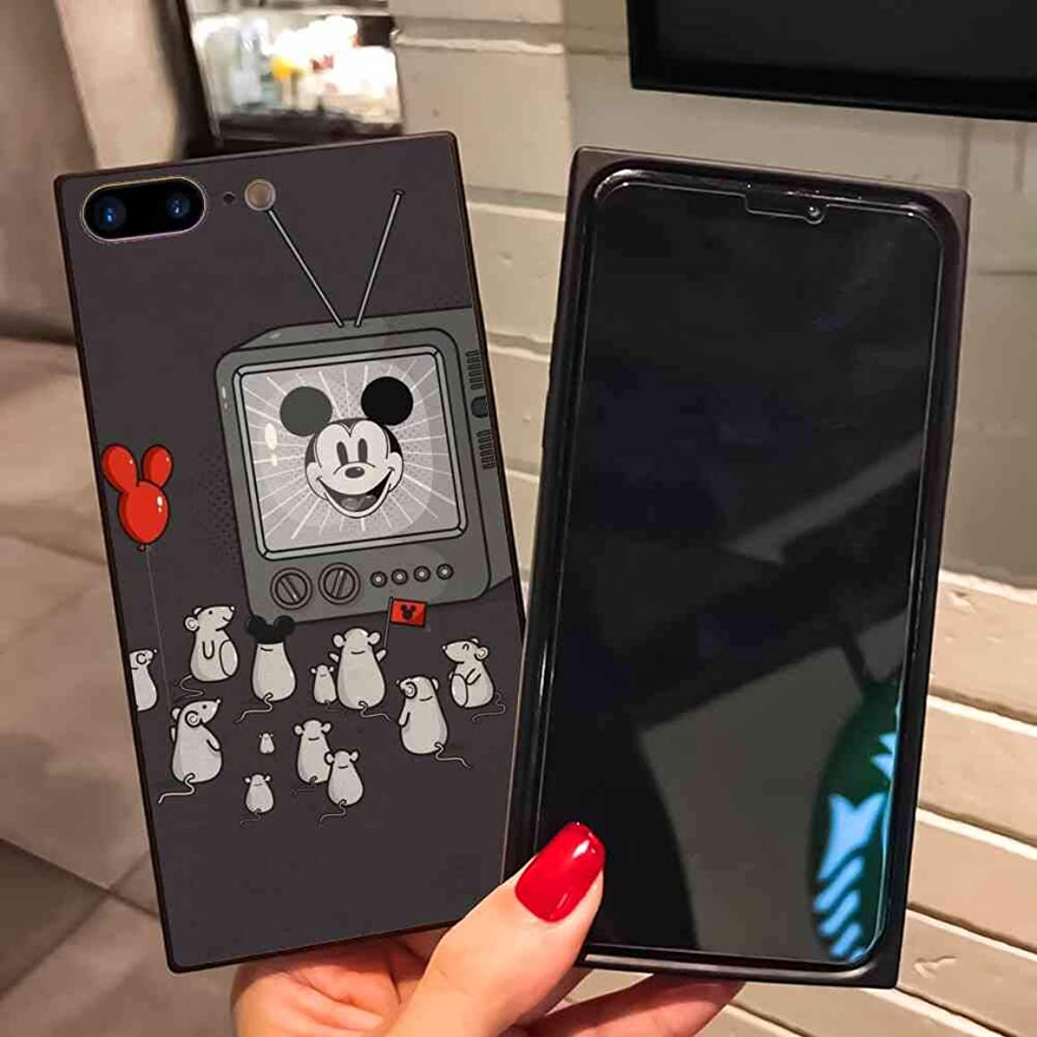 DISNEY COLLECTION Fits for Apple iPhone 7 Plus and iPhone 8 Plus 5.5-Inch The mice are Watching Mickey Mouse on TV