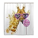 BIGJOKE Duschvorhang, Giraffe, Tropische Süßigkeiten, schimmelresistent, wasserdicht, Polyester, 12 Haken, 167,6 x 182,9 cm, Heimdekoration