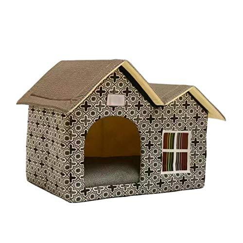 Cajas para animales de compañía con doble techo para cama de gato o habitación de perro para el perro plegable, refugio de gatito impermeable para casa de animal familiar