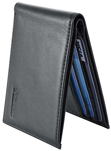Chelmon Ultimate Slim Mini Wallet Front Pocket Minimalist Wallet Bifold Genuine Leather RFID Blocking (ID slot black)