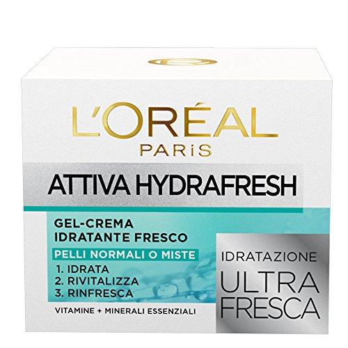 L Oréal Paris Gel Crema Idratante Viso per Pelli Normali e Miste Attiva HydraFresh, Idrata, Rivitalizza e Rinfresca la Pelle, 50 ml, Confezione da 1