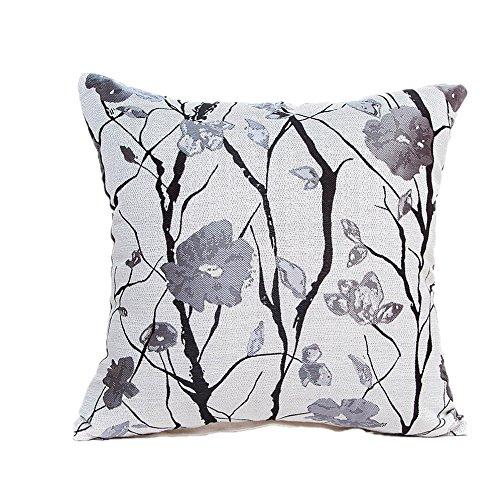 Floral Taie d'oreiller, Ubabamama Polyester Protège Oreiller Canapé Taille Couvre-lit Home Decor Lit de voiture Chaise de bureau Coussin Coque 43X43cm C
