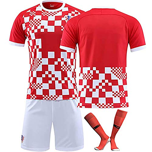 CWWAP Kroatisches Trikot 10# Modric 7# Rakitic Soccer Jersey Matchuniform , Maßgeschneiderte Trainingskleidung für Kinder mit Socken-Kits-Blank-22